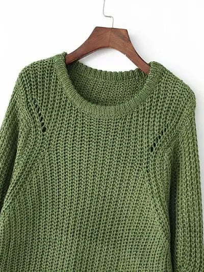 Round Neck Chunky Knit Dark Green Sweater | SHEIN