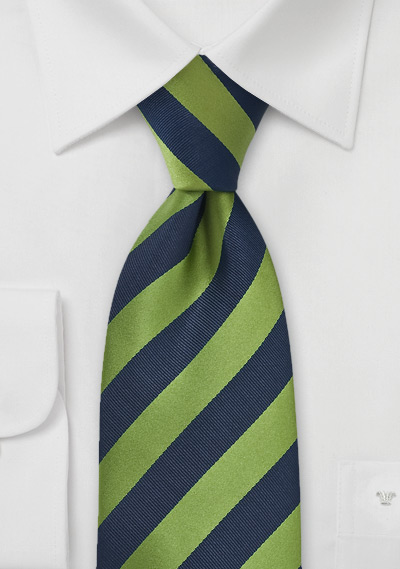Citrus Green and Navy Striped Tie | Bows-N-Ties.com