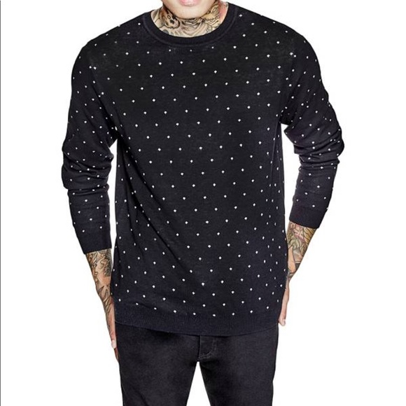 Guess Sweaters | Mens Deo Dotted Black Sweater | Poshmark