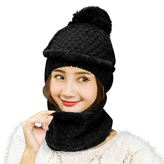 Vbiger Women Warm Hat Scarf Set Thickened Knit Hat and Scarf Winter