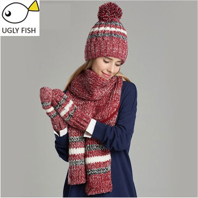 woman winter hat and gloves sets cotton fashion women hat scarf