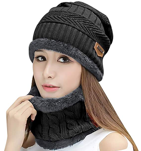 HINDAWI Womens Beanie Winter Hat Scarf Set Slouchy Warm Snow Knit