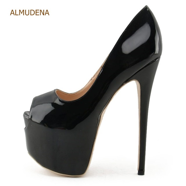 ALMUDENA Fantastic Nude Black Patent Leather Ultra High Heel Shoes