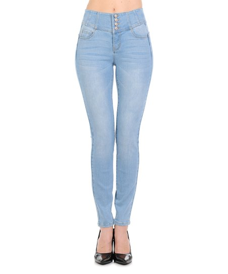 Wax Jean Light Blue Tummy-Control Push-Up High-Waist Skinny Jeans