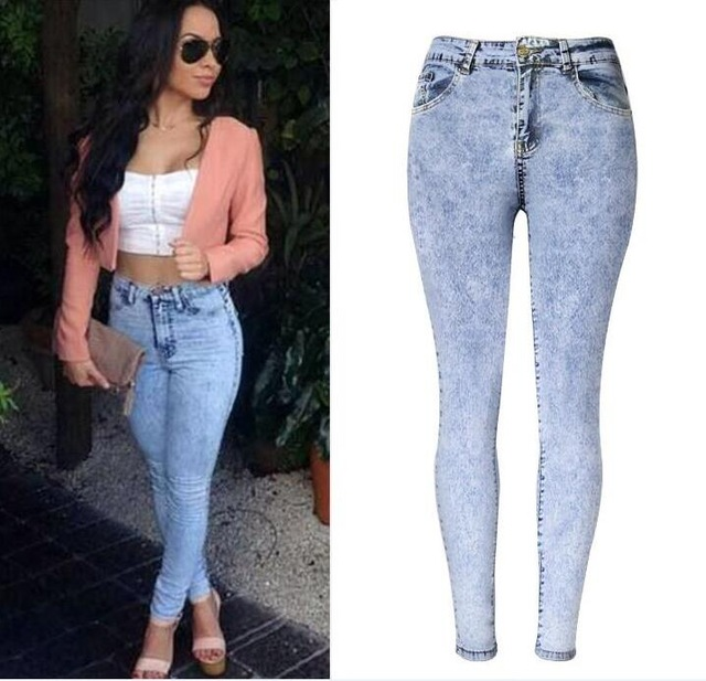 2017 Spring Women High Waist Skinny jeans Fashion Brand Snow Wash