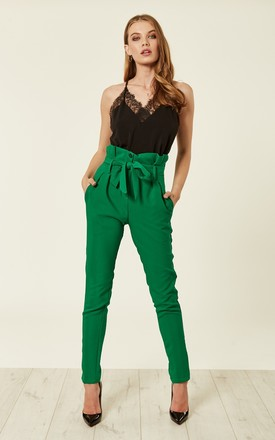 Green Paperbag High Waist Tie Trousers | ANGELEYE | SilkFred