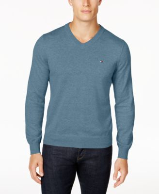 Tommy Hilfiger Men's Signature Solid V-Neck Sweater, Created for