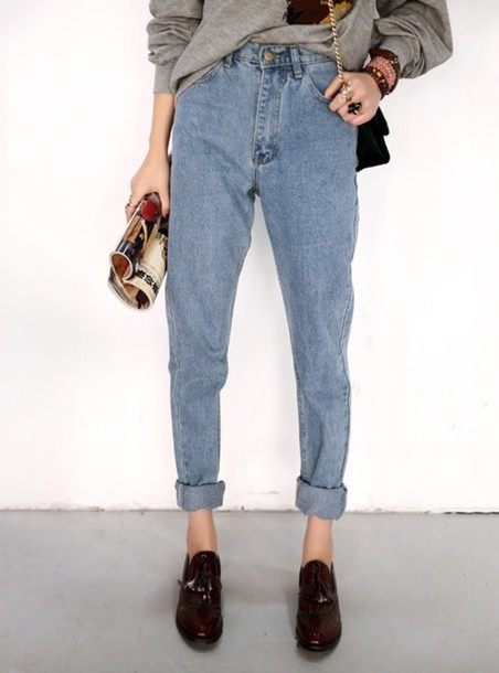 jeans, high waisted jeans, light blue, hipster, mom jeans, shoes
