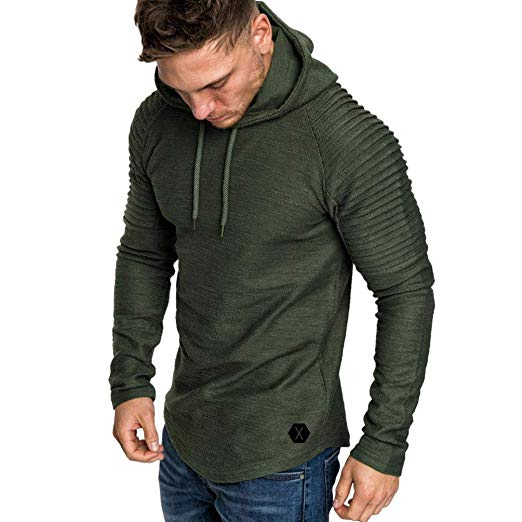 Corriee Hoodies for Men Fashion Men's Pleats Slim Fit Raglan Long