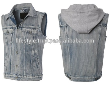 Black Denim Vests Mens Jean Vest Hoodie Blue Jean Vest For Women