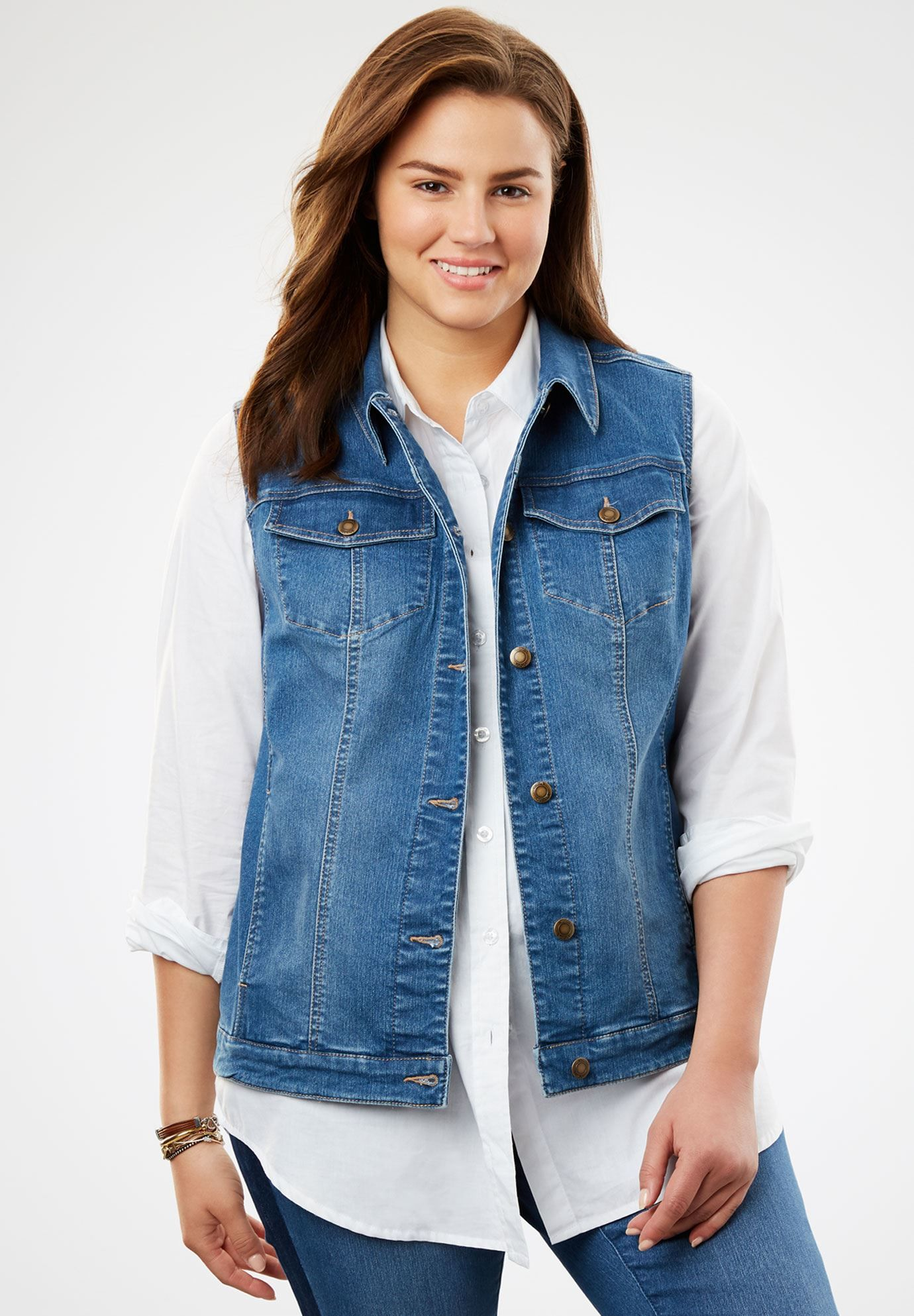 Stretch Denim Vest | Plus Size Vests | Woman Within