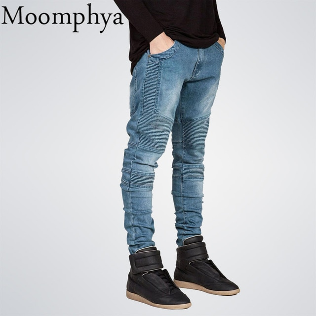 Moomphya Mens Skinny jeans men Runway Distressed slim elastic jeans