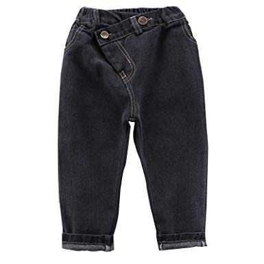 Amazon.com: AIKSSOO Girls Jeans Thicken Casual Pants Oblique Button