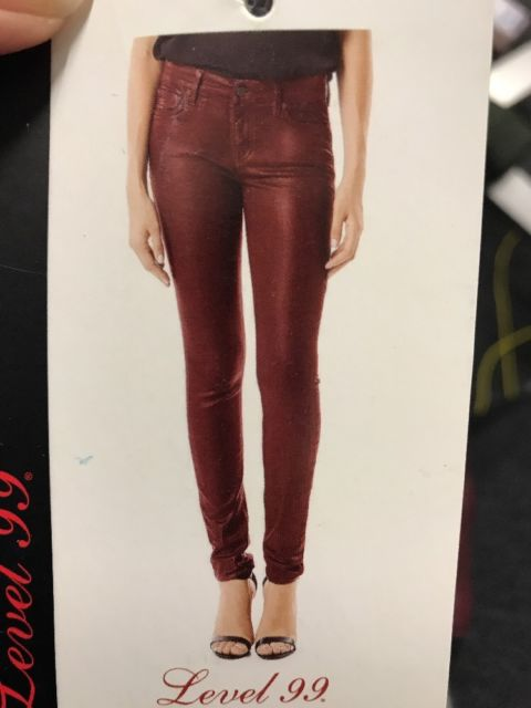 Womens Level 99 Burgundy Mid Rise Coated SKINNY Jeans Pants Size 27