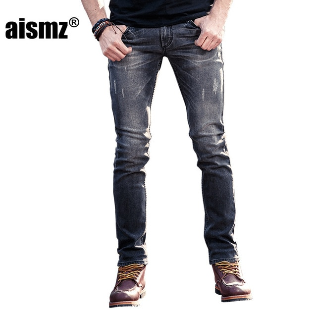 Aismz Fashion Men's Jeans Stretch Gray Denim Men Slim Fit Jeans Size