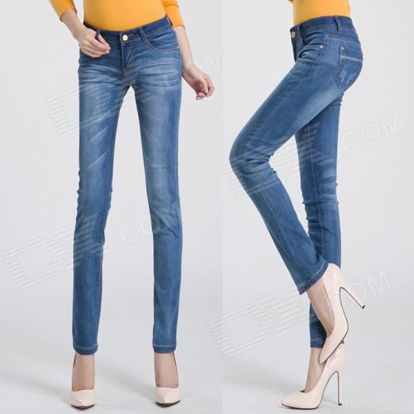 2209 Fashionable Trend Sexy Flower Leg Opening Jeans - Blue (Size