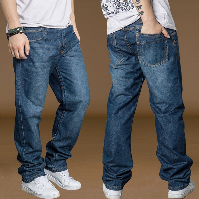 Bell Bottom Pants Men Cotton Jeans Plus Size 40 42 44 Spring Autumn