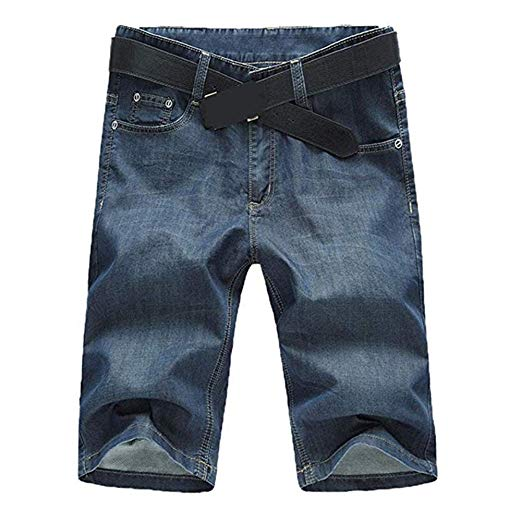 SITENG Men Summer Casual Black Blue Jean Shorts Big and Tall Plus