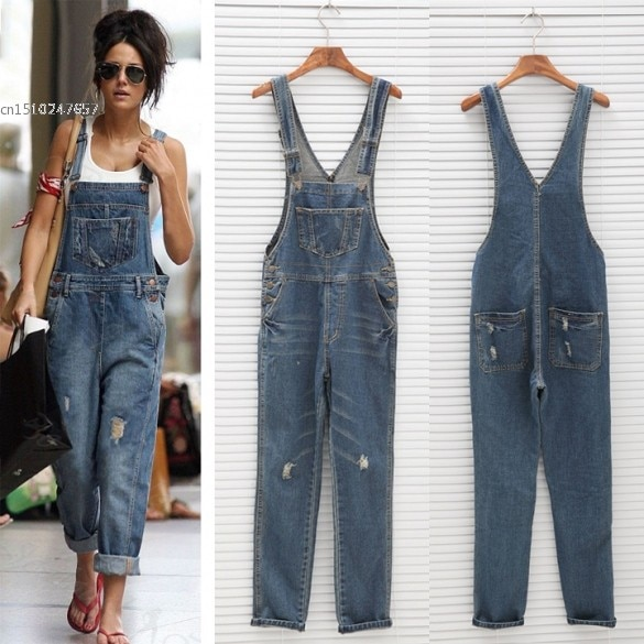 Fashion Women Denim Straight Jeans Jumpsuit Rompers ladies vintage