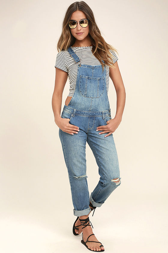 Medium Wash Overalls - Distressed Overalls - Denim Overalls
