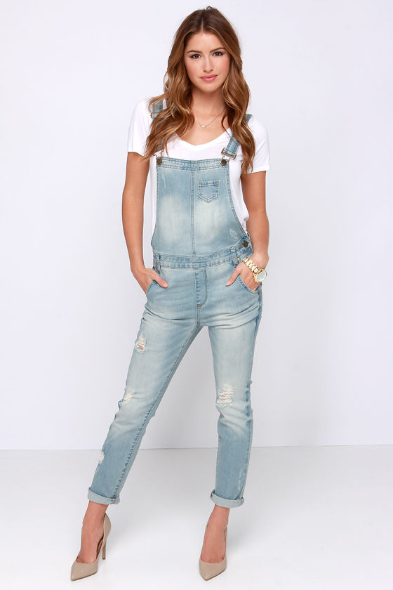 Cute Denim Overalls - Light Wash Overalls - Distressed Overalls - $64.00