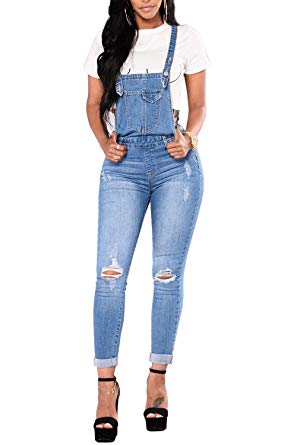 Amazon.com: Ybenlow Womens Ripped Jeans Overalls High Waisted Skinny