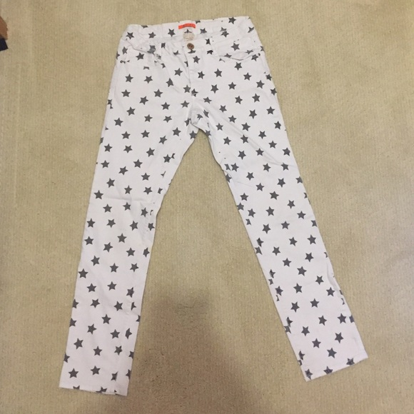 Zara Jeans | White With Black Stars | Poshmark