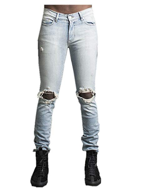 Men's Classic Distressed Skinny Leg Fit Ripped Jeans with Torn Rips