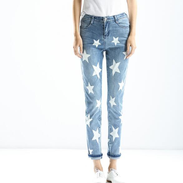 women jeans Light blue star pattern Straight Fitness Zipper Fly -in