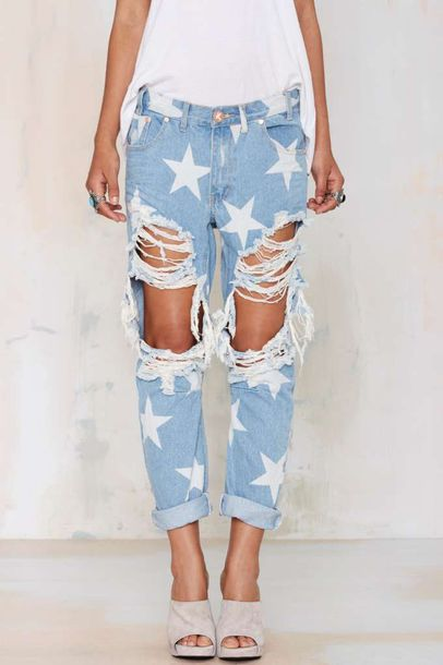 jeans, blue jeans, stars, blue jeans with stars, ripps, ripped