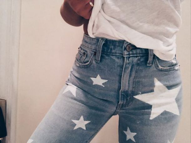 jeans, jeans with stars, blue jeans with stars - Wheretoget