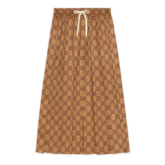 GG technical jersey skirt in Camel and brown GG technical jersey