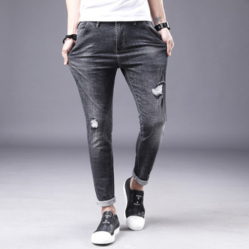 Stretch Fashion Joker Jeans Woven Summer New Men's Trousers Holey