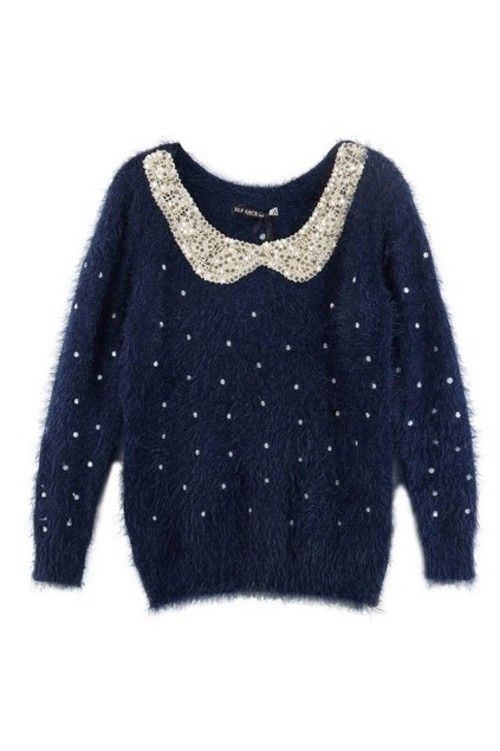 Fluffy Jumper with Sequin Peter Pan Collar #threadflip | STYLE