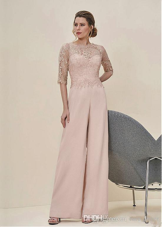 New Arrival 2018 Jumpsuits Lace Half Sleeves Wedding Guest Dress