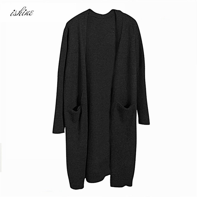 Black Autumn Winter Fashion Women Long Sleeve loose knitting