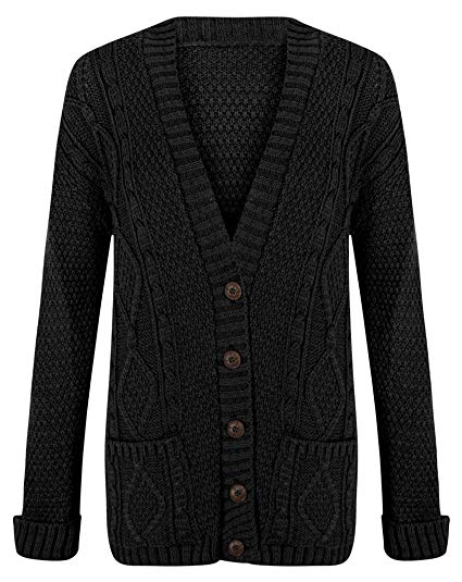 Cardigan Womens Cable Knit Chunky Ladies Grandad Boyfriend Pocket