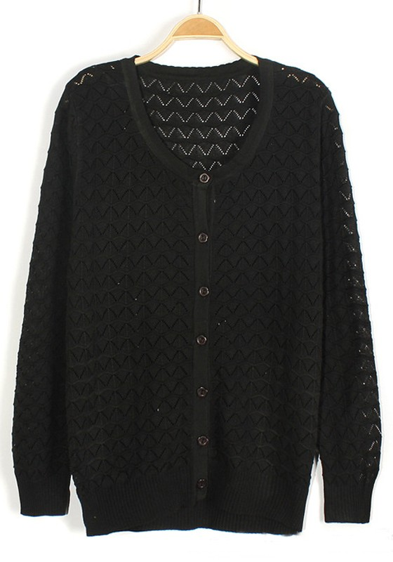 Black Geometric Hollow-out Long Sleeve Knit Cardigan - Cardigans