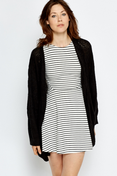 Long Black Loose Knit Cardigan - Just £5