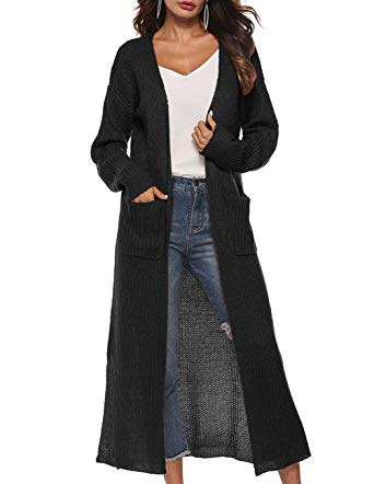 Womens Long Cardigan Long Sleeve Open Front Split Knit Cardigan