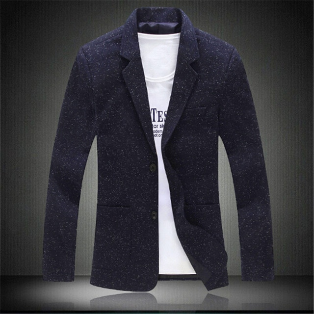 Men Knitting Blazer Suit Fashion Blazer Masculino Slim Casual Jacket