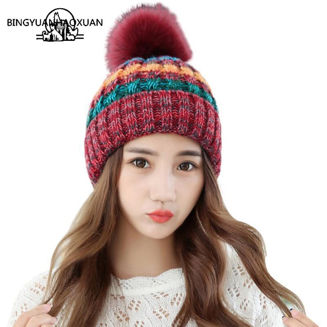 BINGYUANHAOXUANElegant Women Winter Hat Female Fall Knitted Hats For