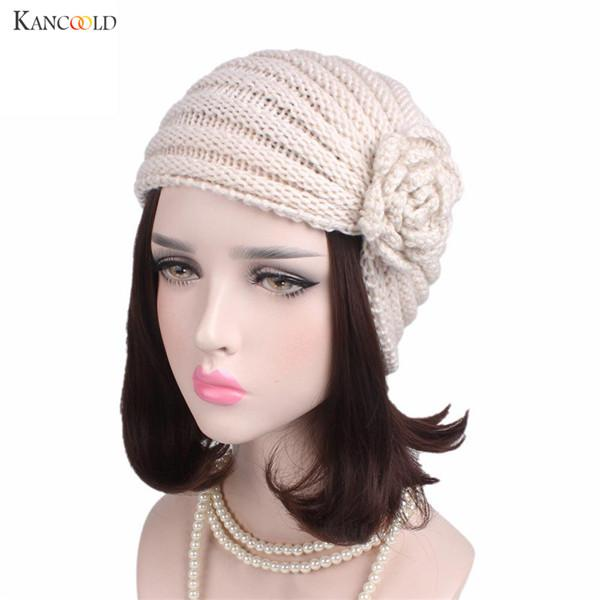 Women Knitted Hats New Design Ladies Boho Solid Knitting Cotton