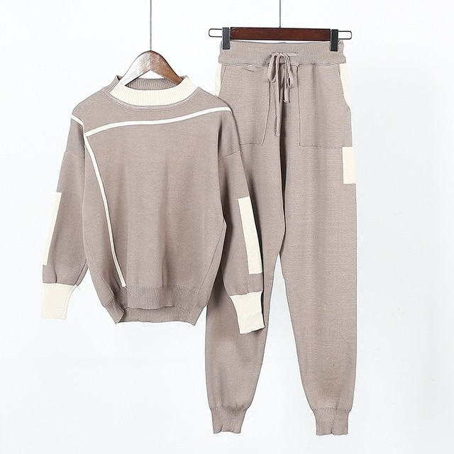 Amolapha Women Knitted Sweaters Pants 2PCS Track Suits Woman Casual