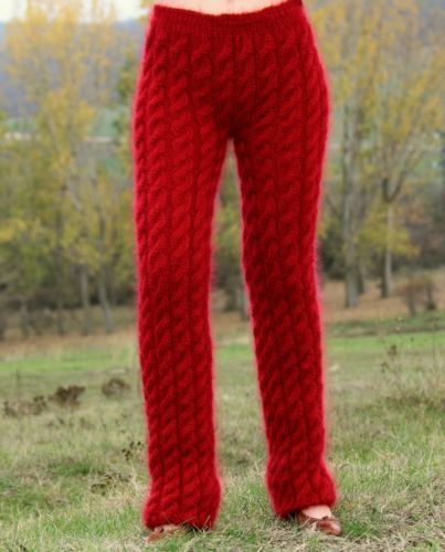 New hand knitted mohair pants EXTRA THICK FUZZY RED soft leg warmers