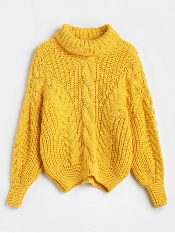 50% OFF] 2019 Turtleneck Chunky Cable Knitted Sweater In BRIGHT