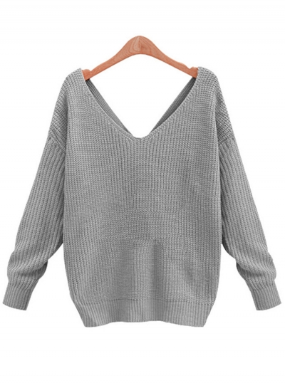 Women's Tie Deep V Neck Pullover Knitted Sweater - ROAWE.COM