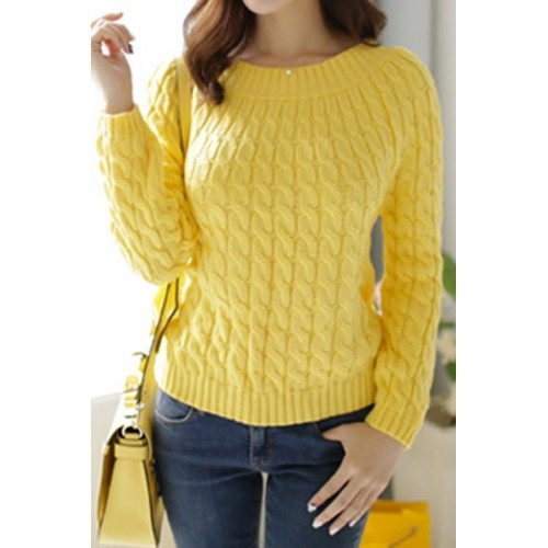Retro Style Women s Jewel Neck Long Sleeve Cable-Knit Sweater yellow