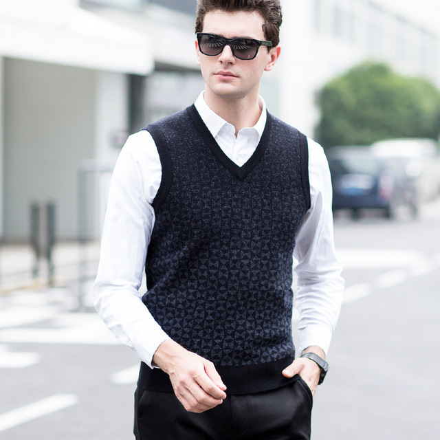 Autumn Winter Men Knitted Vest Pure Wool Sweater Thick Casual