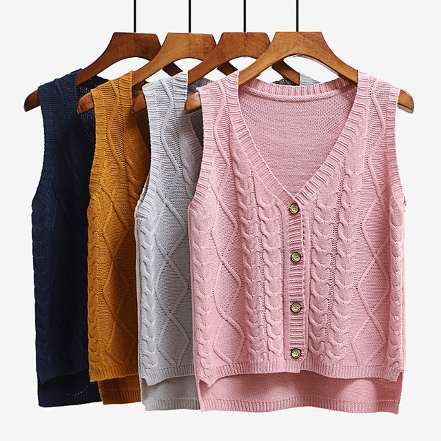 Women sleeveless knitting sweater vest pullover Autumn basic